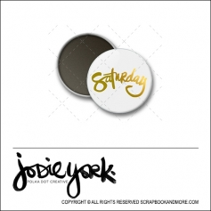 Scrapbook and More 1 inch Round Flair Badge Button White Gold Foil Saturday by Jodie York Polka Dot Creative