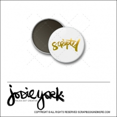 Scrapbook and More 1 inch Round Flair Badge Button White Gold Foil Scripted by Jodie York Polka Dot Creative