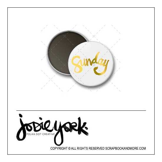 Scrapbook and More 1 inch Round Flair Badge Button White Gold Foil Sunday by Jodie York Polka Dot Creative