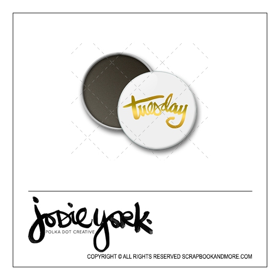 Scrapbook and More 1 inch Round Flair Badge Button White Gold Foil Tuesday by Jodie York Polka Dot Creative