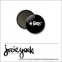 Scrapbook and More 1 inch Round Flair Badge Button Black Hashtag Rad by Jodie York Polka Dot Creative