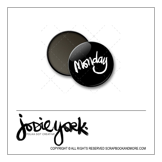 Scrapbook and More 1 inch Round Flair Badge Button Black Monday by Jodie York Polka Dot Creative