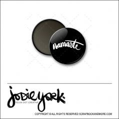 Scrapbook and More 1 inch Round Flair Badge Button Black Namaste by Jodie York Polka Dot Creative