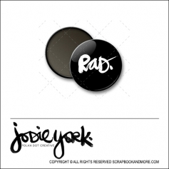 Scrapbook and More 1 inch Round Flair Badge Button Black Rad by Jodie York Polka Dot Creative