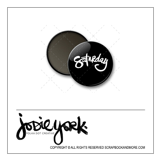 Scrapbook and More 1 inch Round Flair Badge Button Black Saturday by Jodie York Polka Dot Creative