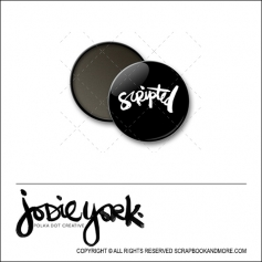 Scrapbook and More 1 inch Round Flair Badge Button Black Scripted by Jodie York Polka Dot Creative
