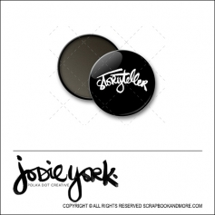 Scrapbook and More 1 inch Round Flair Badge Button Black Storyteller by Jodie York Polka Dot Creative