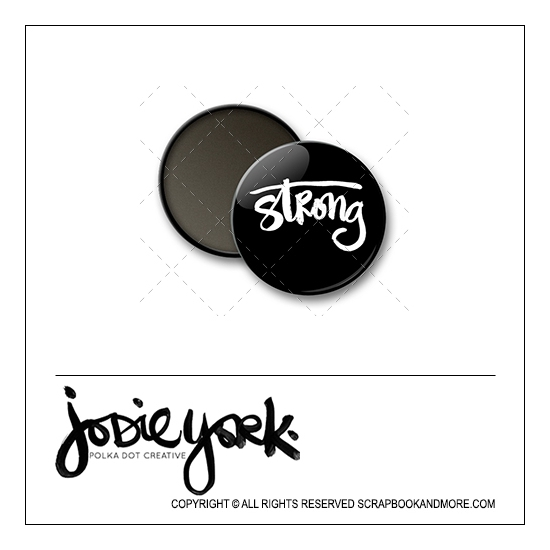 Scrapbook and More 1 inch Round Flair Badge Button Black Strong by Jodie York Polka Dot Creative