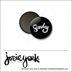 Scrapbook and More 1 inch Round Flair Badge Button Black Sunday by Jodie York Polka Dot Creative