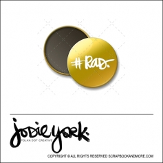 Scrapbook and More 1 inch Round Flair Badge Button Gold Foil Hashtag Rad by Jodie York Polka Dot Creative