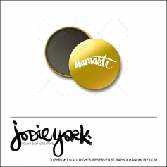 Scrapbook and More 1 inch Round Flair Badge Button Gold Foil Namaste by Jodie York Polka Dot Creative