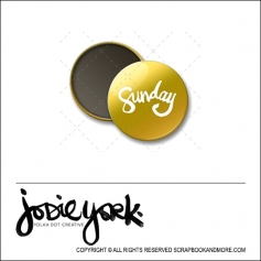 Scrapbook and More 1 inch Round Flair Badge Button Gold Foil Sunday by Jodie York Polka Dot Creative
