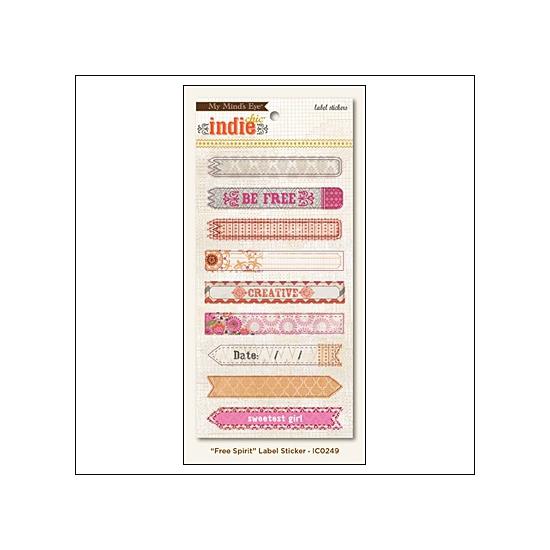 My Minds Eye Label Stickers Saffron Free Spirit Indie Chic Collection