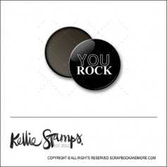 Scrapbook and More 1 inch Round Flair Badge Button Black You Rock by Kellie Winnell from Kellie Stamps