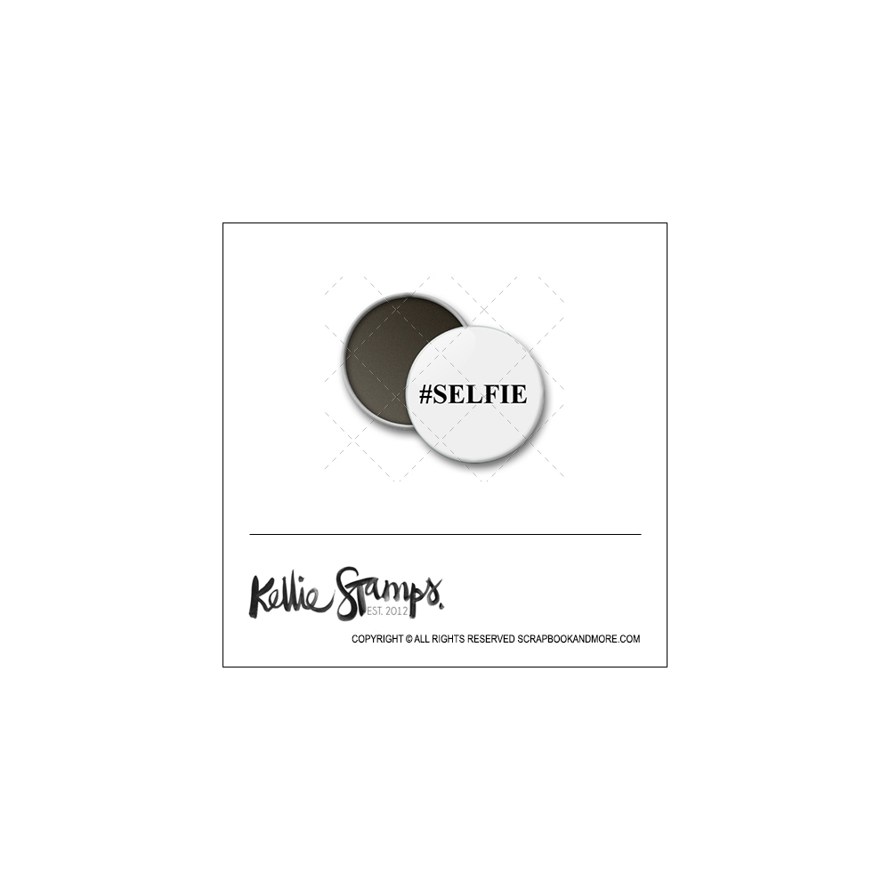 Scrapbook and More 1 inch Round Flair Badge Button White Hashtag Selfie by Kellie Winnell from Kellie Stamps