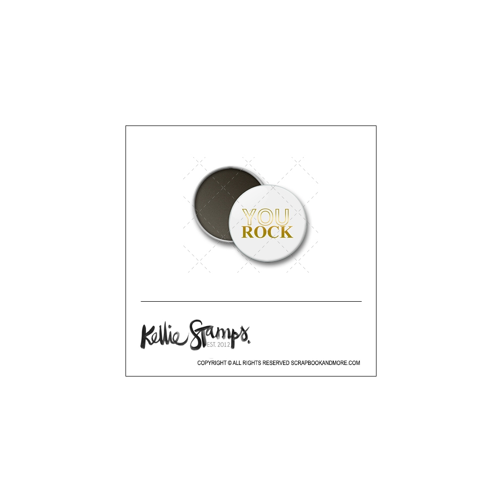 Scrapbook and More 1 inch Round Flair Badge Button White Gold Foil You Rock by Kellie Winnell from Kellie Stamps