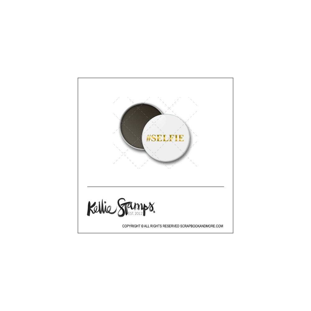 Scrapbook and More 1 inch Round Flair Badge Button White Gold Foil Hashtag Selfie by Kellie Winnell from Kellie Stamps