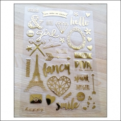 Simple Stories Clear Gold Foil Stickers So Fancy Collection
