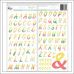 Pinkfresh Studio Foil Color Block Alphabet Puffy Stickers Happy Things Collection