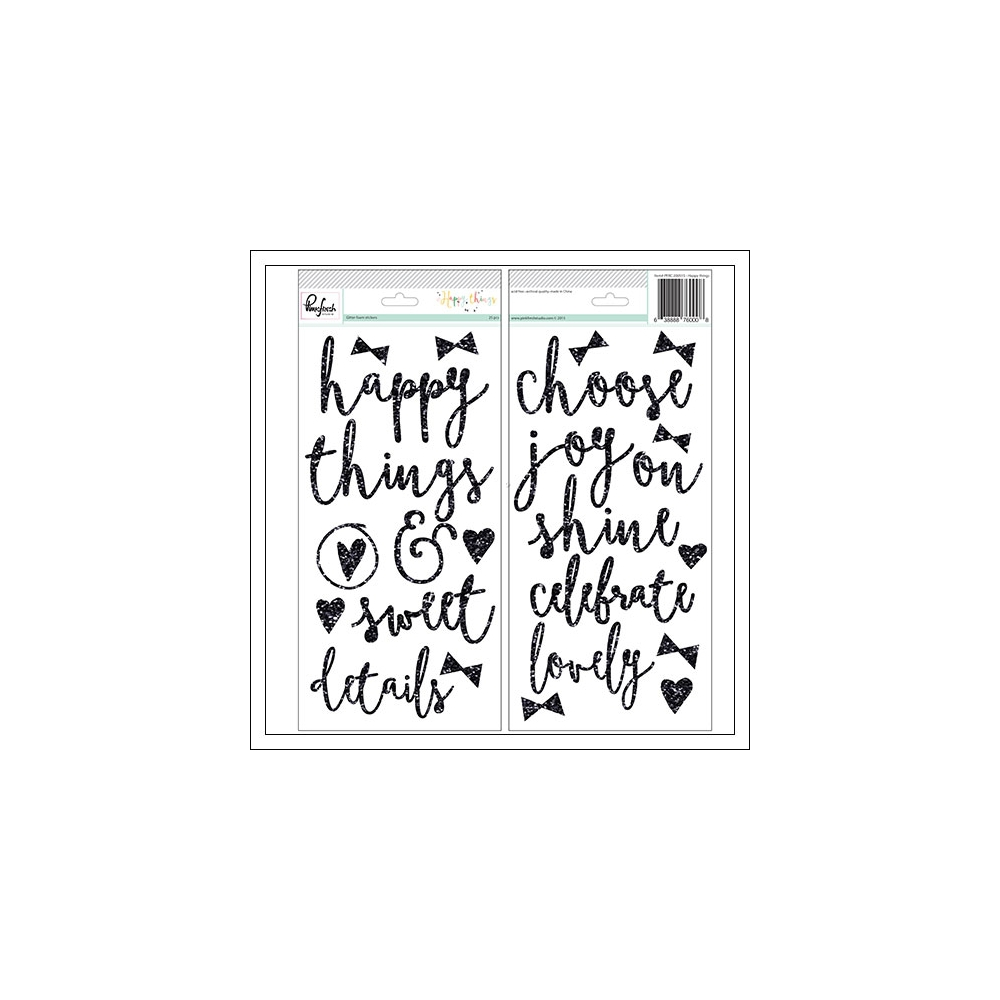 Pinkfresh Studio Glitter Foam Word Stickers Happy Things Collection