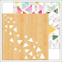 Pinkfresh Studio Paper Sheet Rustic Triangles and Triangle Pattern Happy Things Collection