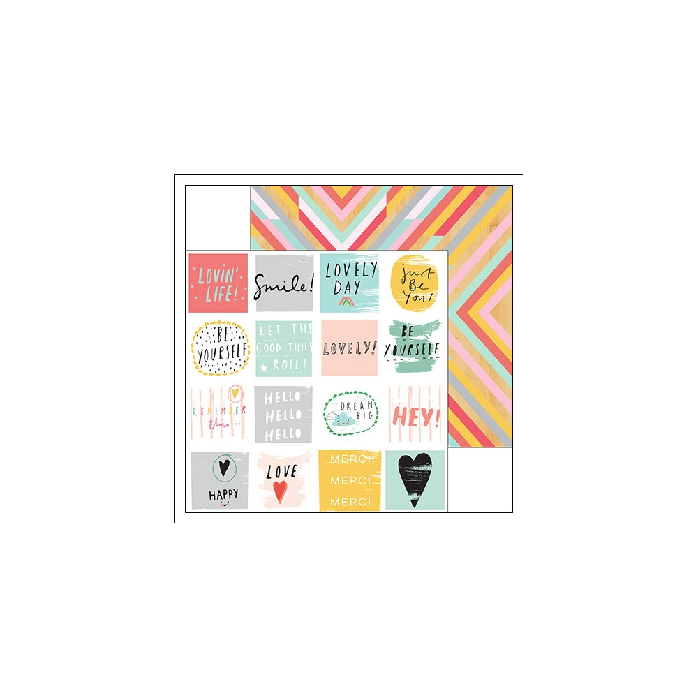 Pinkfresh Studio Paper Sheet Happy Words and Rustic Pattern Happy Things Collection