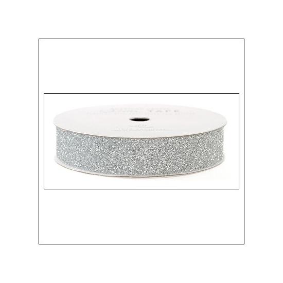"American Crafts Glitter Tape Silver 5/8"""