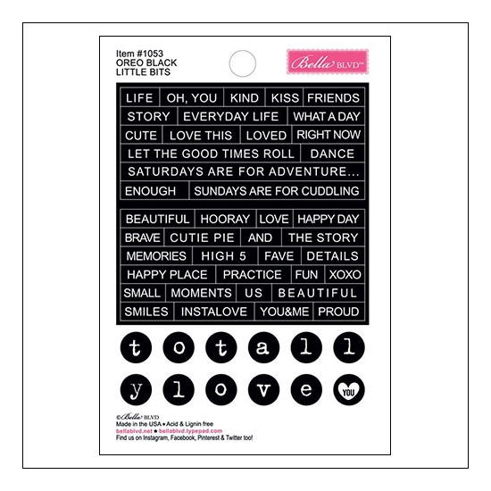 Bella Blvd Little Bits Cardstock Stickers Oreo Black Just Add Color Collection