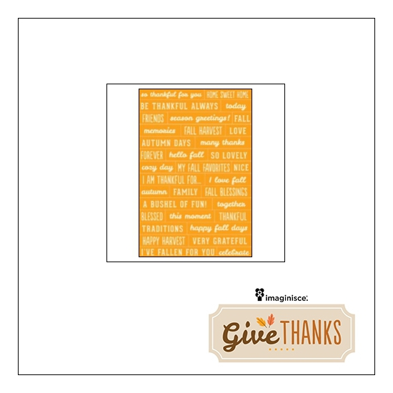 Imaginisce Phrase Sticker Sheet Yellow Give Thanks Collection