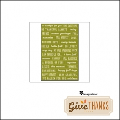 Imaginisce Phrase Sticker Sheet Green Give Thanks Collection