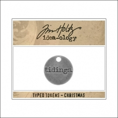 Idea-ology Typed Token Christmas Tidings by Tim Holtz