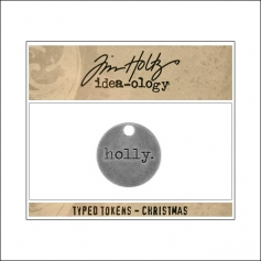 Idea-ology Typed Token Christmas Holly by Tim Holtz