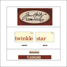 Idea-ology Mini Flash Card Christmastime Red Text Twinkle and Star by Tim Holtz