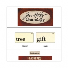 Idea-ology Mini Flash Card Christmastime Black Text Tree and Gift by Tim Holtz