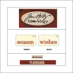 Idea-ology Mini Flash Card Christmastime Red Text Season and Wishes by Tim Holtz