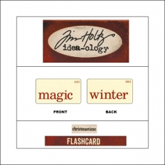 Idea-ology Mini Flash Card Christmastime Red Text Magic and Winter by Tim Holtz