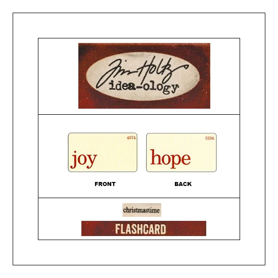 Idea-ology Mini Flash Card Christmastime Red Text Joy and Hope by Tim Holtz
