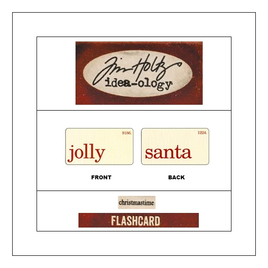 Idea-ology Mini Flash Card Christmastime Red Text Jolly and Santa by Tim Holtz