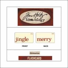 Idea-ology Mini Flash Card Christmastime Red Text Jingle and Merry by Tim Holtz