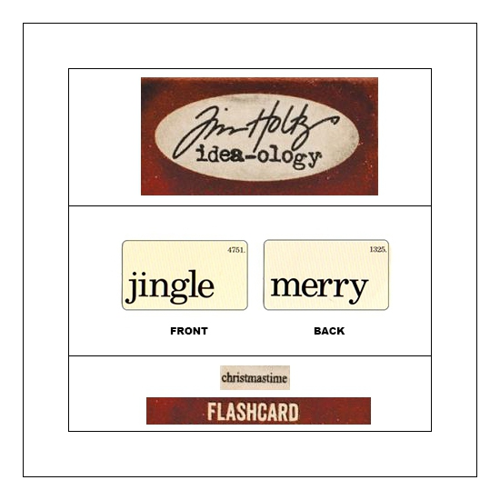 Idea-ology Mini Flash Card Christmastime Black Text Jingle and Merry by Tim Holtz