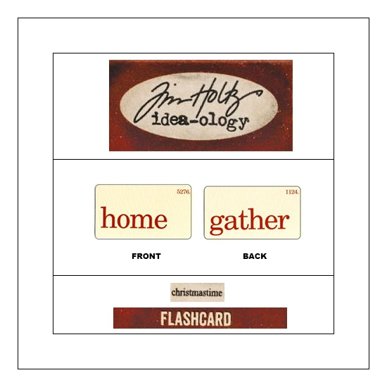 Idea-ology Mini Flash Card Christmastime Red Text Home and Gather by Tim Holtz