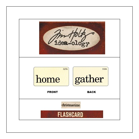 Idea-ology Mini Flash Card Christmastime Black Text Home and Gather by Tim Holtz