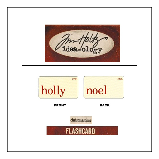 Idea-ology Mini Flash Card Christmastime Red Text Holly and Noel by Tim Holtz