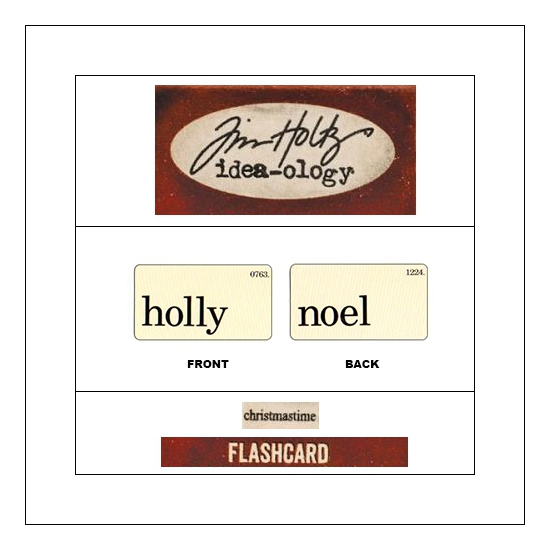 Idea-ology Mini Flash Card Christmastime Black Text Holly and Noel by Tim Holtz