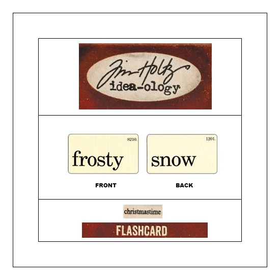 Idea-ology Mini Flash Card Christmastime Black Text Frosty and Snow by Tim Holtz