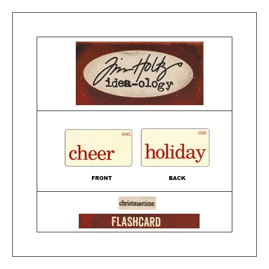 Idea-ology Mini Flash Card Christmastime Red Text Cheer and Holiday by Tim Holtz
