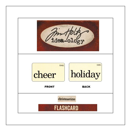 Idea-ology Mini Flash Card Christmastime Black Text Cheer and Holiday by Tim Holtz