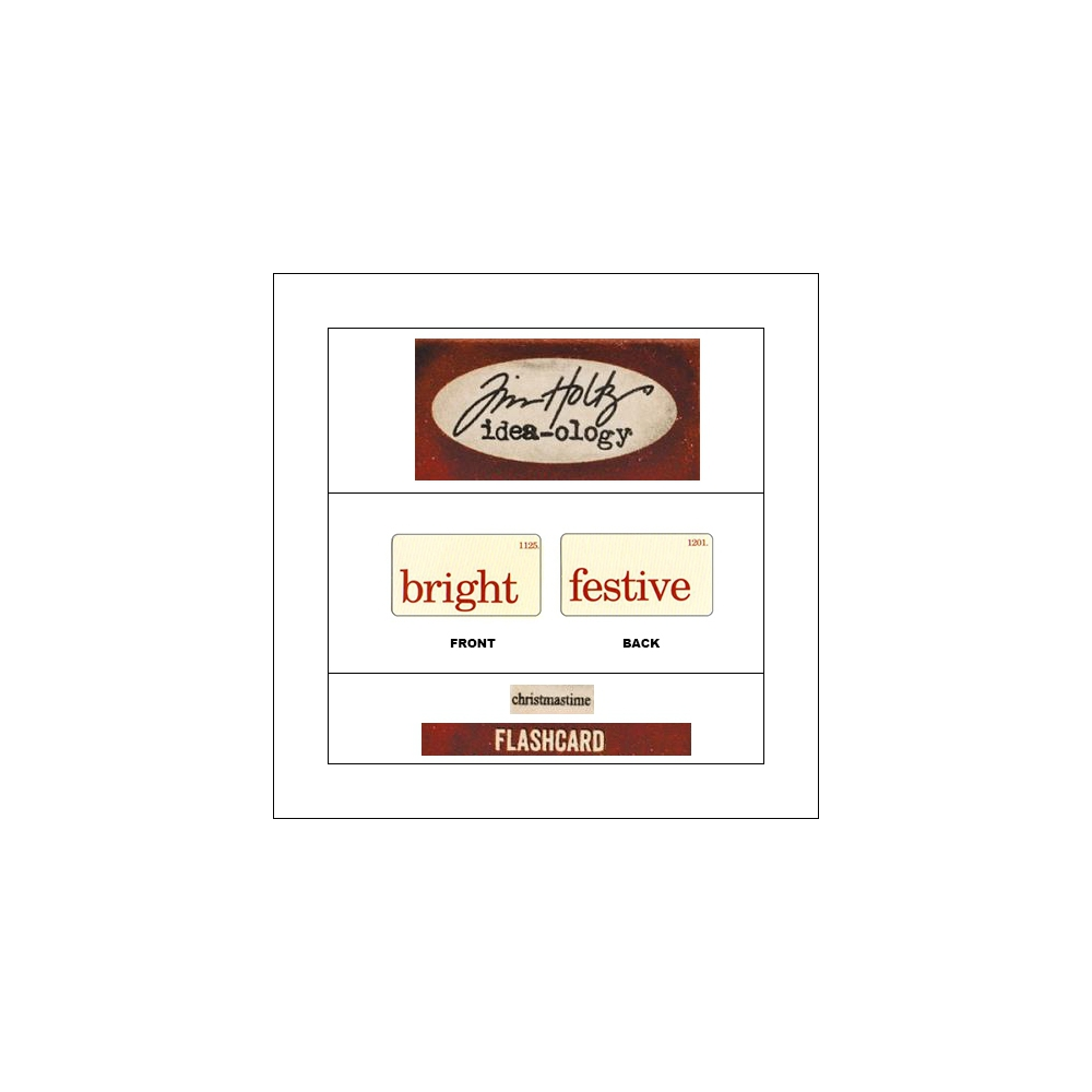 Idea-ology Mini Flash Card Christmastime Red Text Bright and Festive by Tim Holtz