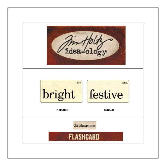 Idea-ology Mini Flash Card Christmastime Black Text Bright and Festive by Tim Holtz