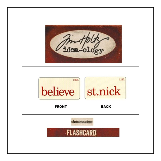 Idea-ology Mini Flash Card Christmastime Red Text Believe and St. Nick by Tim Holtz